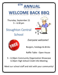 Welcome Back BBQ & Community Organization Showcase @ Stoughton Central School