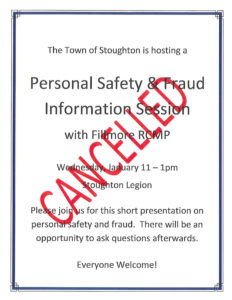 Personal Safety & Fraud Information Session @ Stoughton Legion