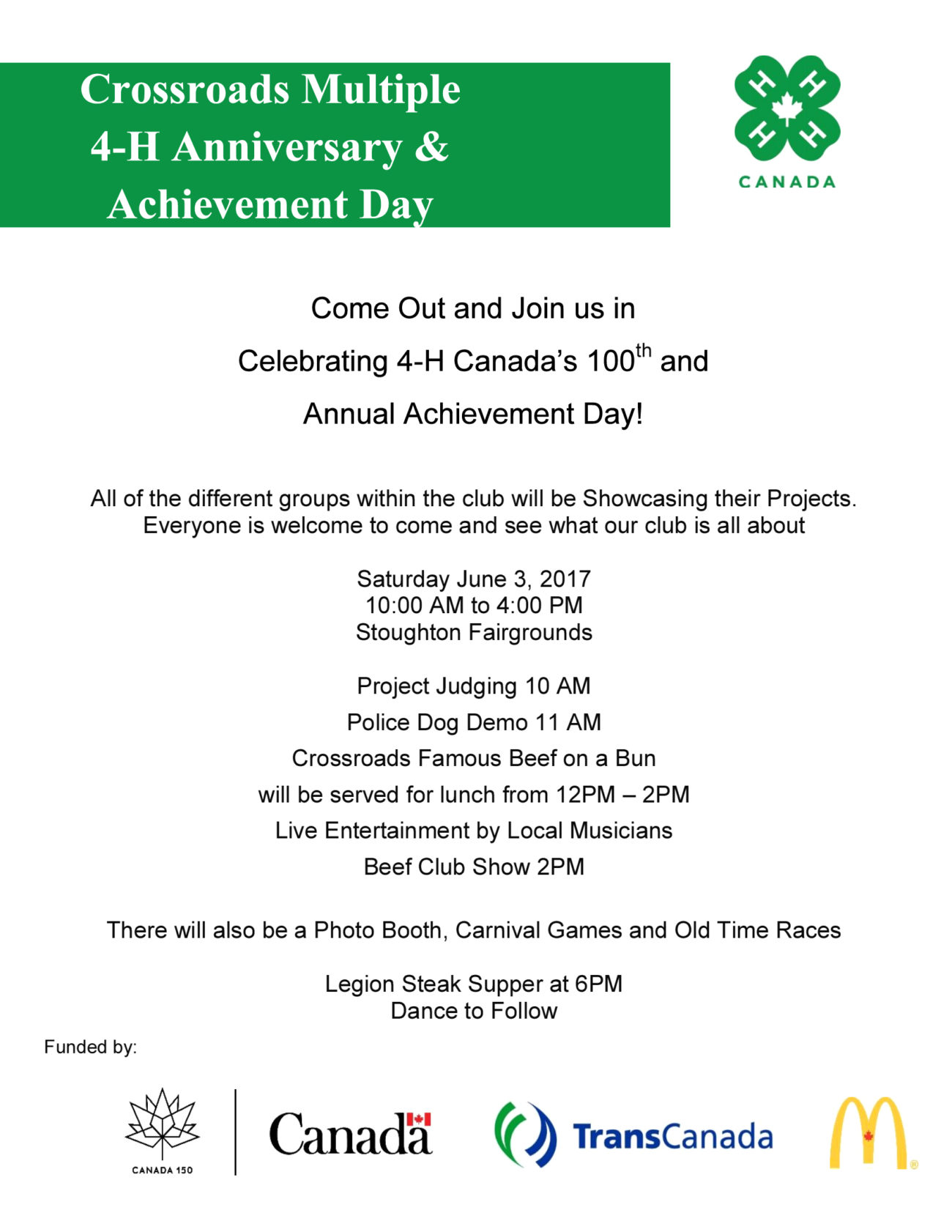 Crossroads Multiple 4-H Anniversary & Achievement Day   Town