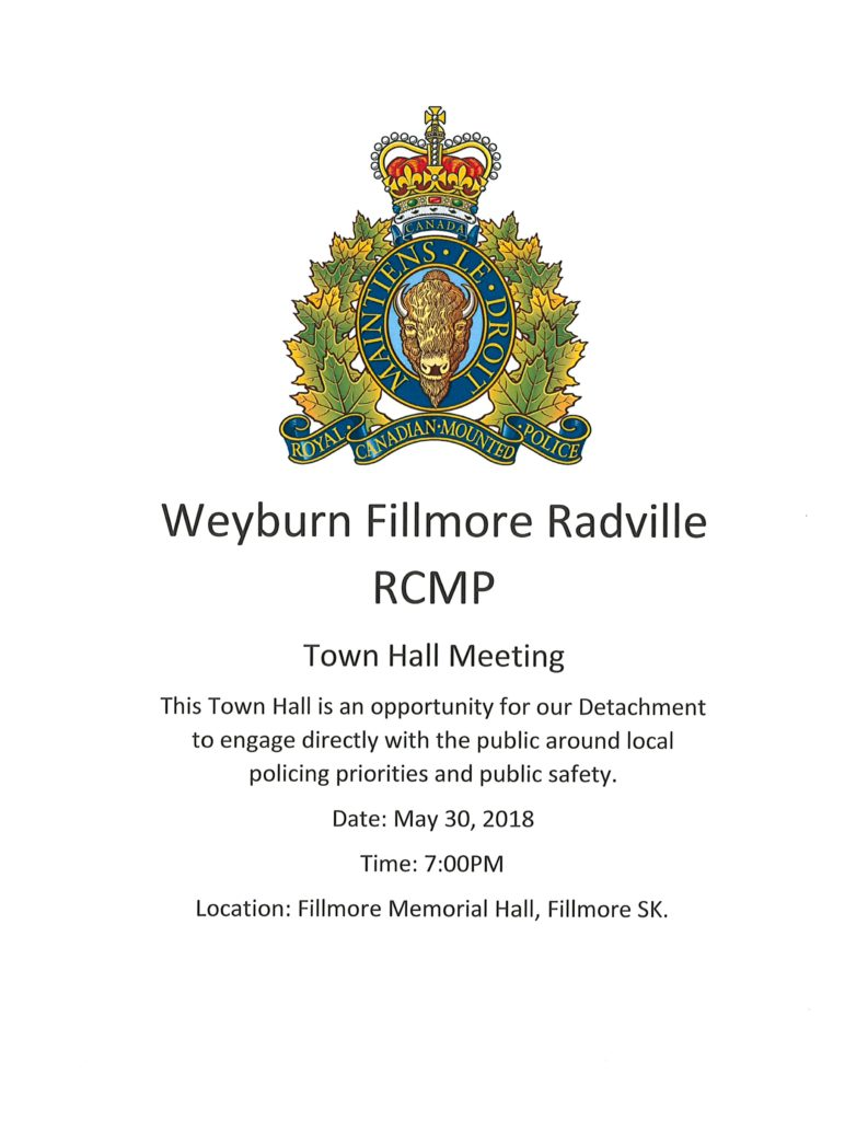 RCMP Town Hall Meeting @ Fillmore Memorial Hall | Fillmore | Saskatchewan | Canada
