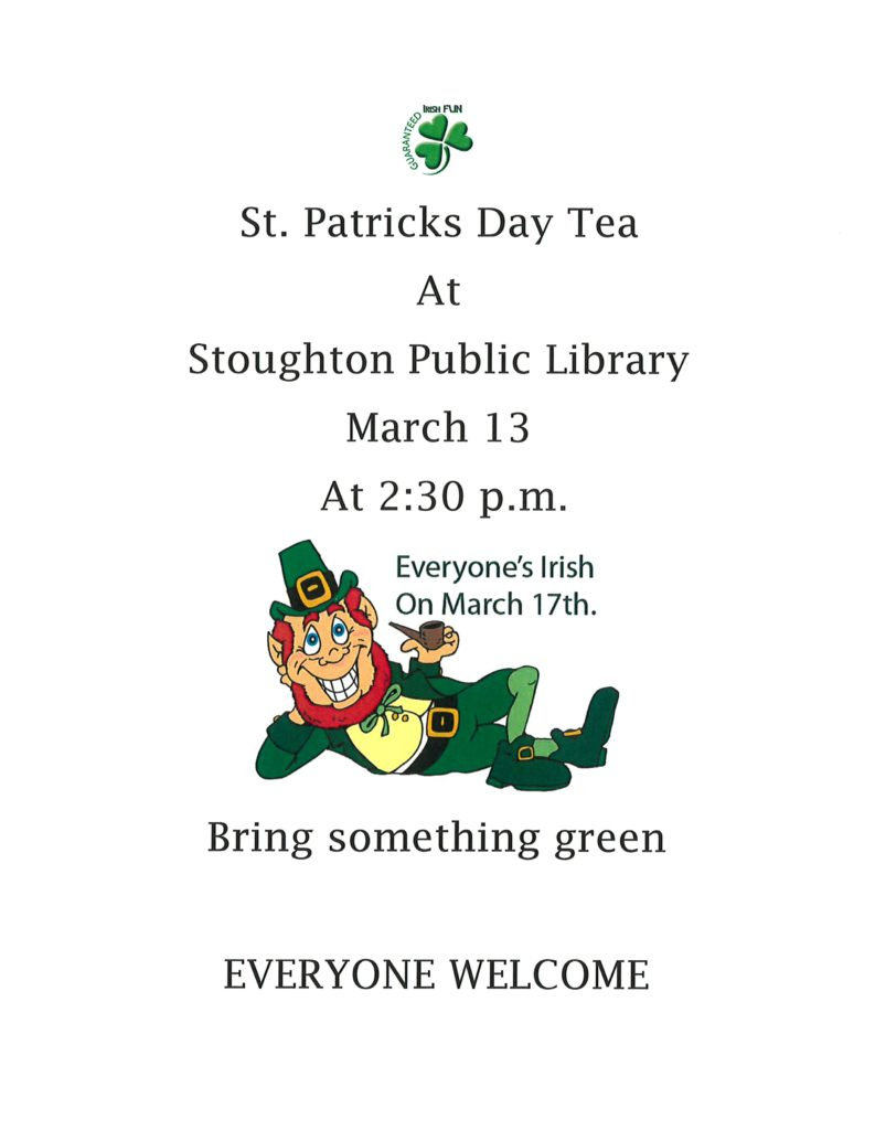 St. Patricks Day Tea @ Stoughton Public Library